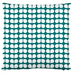 Teal And White Leaf Pattern Large Cushion Case (two Sided)  by creativemom