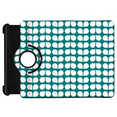 Teal And White Leaf Pattern Kindle Fire Hd Flip 360 Case by creativemom