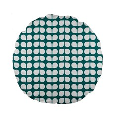 Teal And White Leaf Pattern 15  Premium Round Cushion  by creativemom