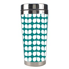 Teal And White Leaf Pattern Stainless Steel Travel Tumbler by creativemom
