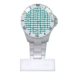 Teal And White Leaf Pattern Nurses Watch by creativemom