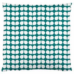 Teal And White Leaf Pattern Large Flano Cushion Case (two Sides) by creativemom