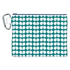 Teal And White Leaf Pattern Canvas Cosmetic Bag (xxl) by creativemom