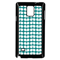Teal And White Leaf Pattern Samsung Galaxy Note 4 Case (black) by creativemom