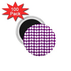 Purple And White Leaf Pattern 1 75  Button Magnet (100 Pack) by creativemom