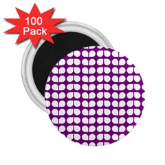 Purple And White Leaf Pattern 2 25  Button Magnet (100 Pack) by creativemom