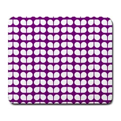 Purple And White Leaf Pattern Large Mouse Pad (rectangle) by creativemom