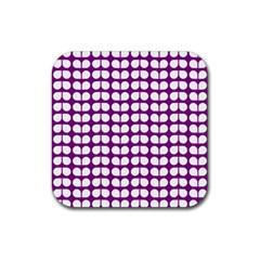 Purple And White Leaf Pattern Drink Coasters 4 Pack (square) by creativemom