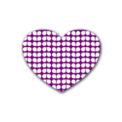 Purple And White Leaf Pattern Drink Coasters 4 Pack (heart)  by creativemom