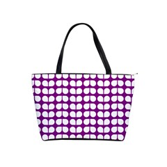 Purple And White Leaf Pattern Large Shoulder Bag by creativemom