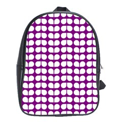 Purple And White Leaf Pattern School Bag (large) by creativemom