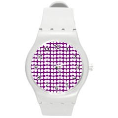 Purple And White Leaf Pattern Plastic Sport Watch (medium) by creativemom