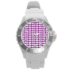 Purple And White Leaf Pattern Plastic Sport Watch (large) by creativemom
