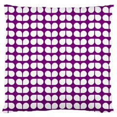 Purple And White Leaf Pattern Large Cushion Case (single Sided)  by creativemom