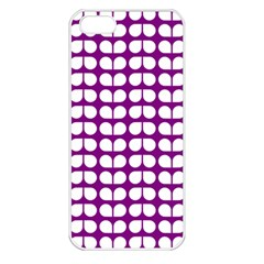 Purple And White Leaf Pattern Apple Iphone 5 Seamless Case (white) by creativemom