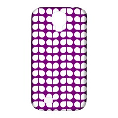 Purple And White Leaf Pattern Samsung Galaxy S4 Classic Hardshell Case (pc+silicone) by creativemom