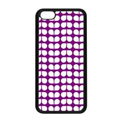 Purple And White Leaf Pattern Apple Iphone 5c Seamless Case (black) by creativemom