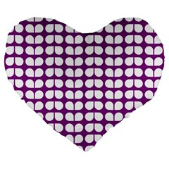 Purple And White Leaf Pattern 19  Premium Flano Heart Shape Cushion by creativemom