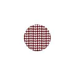 Red And White Leaf Pattern 1  Mini Button by creativemom