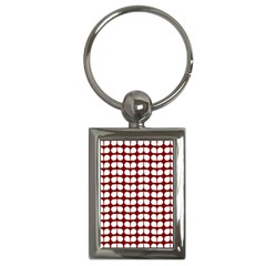 Red And White Leaf Pattern Key Chain (rectangle) by creativemom