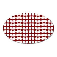 Red And White Leaf Pattern Magnet (oval) by creativemom
