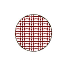 Red And White Leaf Pattern Golf Ball Marker (for Hat Clip) by creativemom