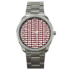 Red And White Leaf Pattern Sport Metal Watch by creativemom