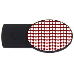 Red And White Leaf Pattern 4gb Usb Flash Drive (oval) by creativemom