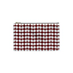 Red And White Leaf Pattern Cosmetic Bag (small)