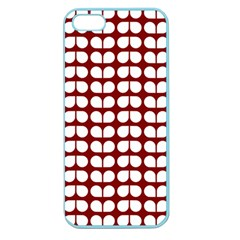 Red And White Leaf Pattern Apple Seamless Iphone 5 Case (color) by creativemom