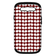 Red And White Leaf Pattern Samsung Galaxy S Iii Hardshell Case (pc+silicone)