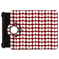 Red And White Leaf Pattern Kindle Fire Hd Flip 360 Case by creativemom