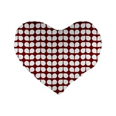Red And White Leaf Pattern 16  Premium Heart Shape Cushion  by creativemom