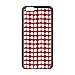 Red And White Leaf Pattern Apple Iphone 6 Black Enamel Case by creativemom