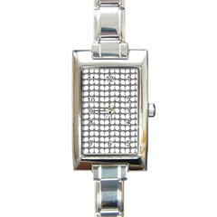 Gray And White Leaf Pattern Rectangular Italian Charm Watch by creativemom