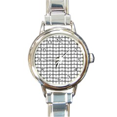 Gray And White Leaf Pattern Round Italian Charm Watch by creativemom