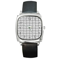 Gray And White Leaf Pattern Square Leather Watch by creativemom