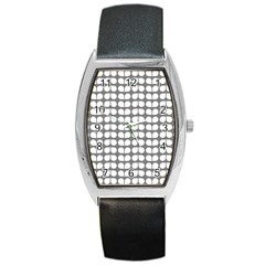 Gray And White Leaf Pattern Tonneau Leather Watch by creativemom