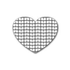 Gray And White Leaf Pattern Drink Coasters 4 Pack (heart)  by creativemom