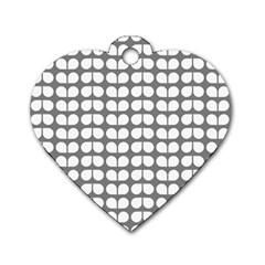 Gray And White Leaf Pattern Dog Tag Heart (one Sided)  by creativemom