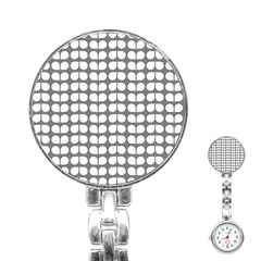 Gray And White Leaf Pattern Stainless Steel Nurses Watch by creativemom