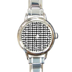 Black And White Leaf Pattern Round Italian Charm Watch by creativemom