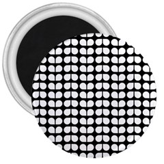 Black And White Leaf Pattern 3  Button Magnet by creativemom