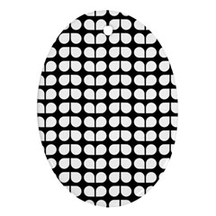 Black And White Leaf Pattern Oval Ornament by creativemom