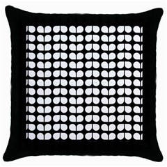 Black And White Leaf Pattern Black Throw Pillow Case by creativemom