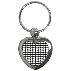 Black And White Leaf Pattern Key Chain (heart) by creativemom