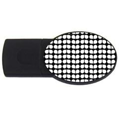 Black And White Leaf Pattern 2gb Usb Flash Drive (oval) by creativemom