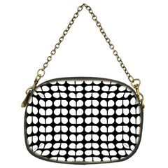 Black And White Leaf Pattern Chain Purse (one Side) by creativemom