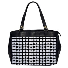 Black And White Leaf Pattern Oversize Office Handbag (one Side) by creativemom