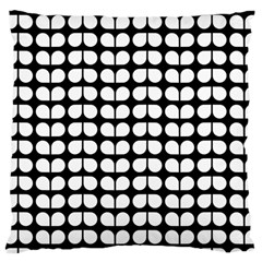 Black And White Leaf Pattern Large Cushion Case (two Sided)  by creativemom